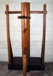 Wooden dummy in Sapele on freestanding base